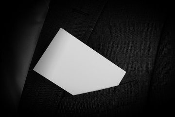 business man with business card in the pocket