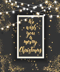 """Vector poster with hand drawn Christmas hand made quote """"We wish you a merry Christmas"""", garlands and golden tinsel on blackboard. Sketch, Lettering. Banner, flyer, brochure."""