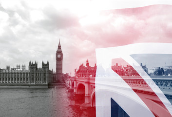 Union Jack flag and black and white picture of London, collage