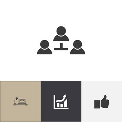 Set Of 4 Editable Trade Icons. Includes Symbols Such As Partnership, Table, Statistics And More. Can Be Used For Web, Mobile, UI And Infographic Design.