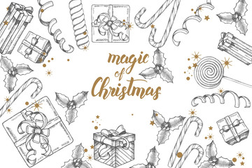 "Christmas background with hand drawn doodle gifts, candies, holly leaves, glitter and serpentine. Greeting hand made quote ""Magic of Christmas"" Happy New Year. Sketch. Banner,poster, flyer, brochure."