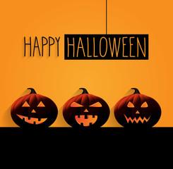 Happy Halloween poster with hanging handwritten text. Orange background. Vector illustration.