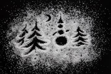 Новогодний рисунок на белом сахаре.