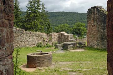 Zelfklevend Fotobehang Rudnes ruine hinterburg über neckarsteinach