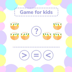 Vector illustration. Education logic game for preschool kids. Choose the correct answer. More, less or equal? basket with pears.