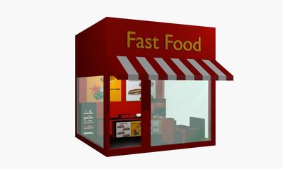 Fast Food Imbiss aus rechter seitlicher Ansicht auf weiß isoliert