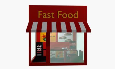 Fast Food Restaurant in Vorderansicht auf weiß isoliert
