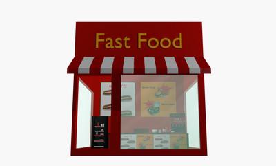 Fast Food Restaurant auf weiß isoliert
