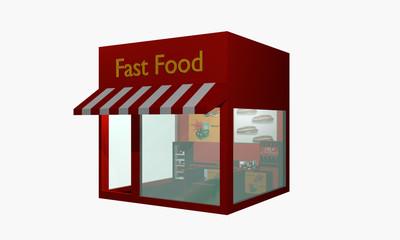 Fast Food Imbiss aus linker seitlicher Ansicht auf weiß isoliert