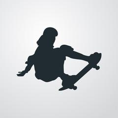 Icono plano silueta skater en fondo degradado