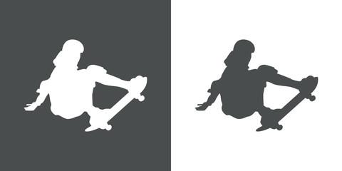 Icono plano silueta skater gris y blanco