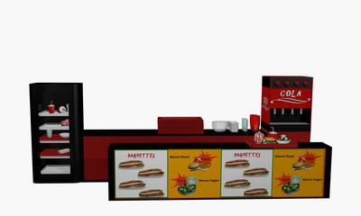 Fast Food Theke in Vorderansicht auf weiß isoliert