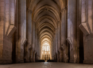 View towards the main chapel and ambulatory of the medieval Alcobaca Monastery, the first truly Gothic building in Portugal, started in 1178, completed in 1252.