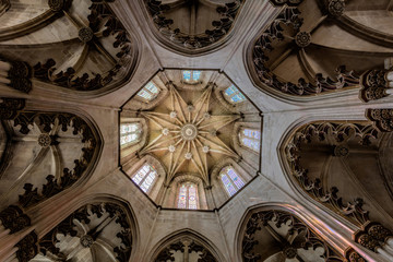 Ceiling decoration in the Batalha Monastery, a prime example of Portuguese Gothic architecture, UNESCO World Heritage site, started in 1386 but never actually completed.