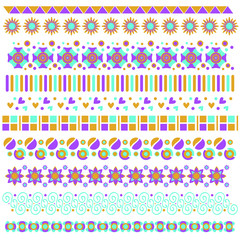 Colorful trim or border collection with flowers, hearts and curls