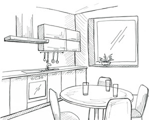 Hand drawn kitchen with a window. Sketch with a pen.
