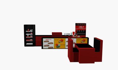 Fast Food Einrichtung in Vorderansicht auf weiß isoliert