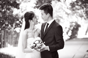 outdoor portrait of a newly-wed asian couple, black and white