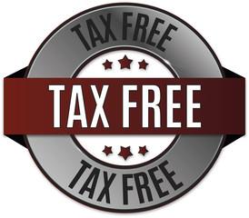 red black round glossy tax free badge illustration
