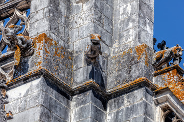 The Unfinished Chapels of the 14th century Batalha Monastery in Batalha, Portugal, a prime example of Portuguese Gothic architecture, UNESCO World Heritage site.