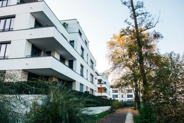 beautiful apartment houses in autumn