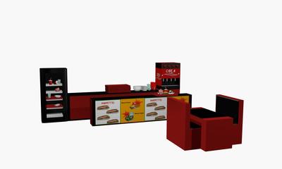 Fast Food Einrichtung in seitlicher Ansicht auf weiß isoliert