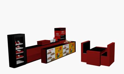 Fast Food Einrichtung auf weiß isoliert