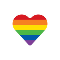 Rainbow heart on white background. LGBT community symbol. Vector illustration.