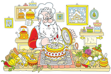 Santa Claus cooking soup in his kitchen