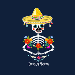 Mexican Dia de los Muertos (Day of the Dead) skeleton man, greeting card, vector illustration.