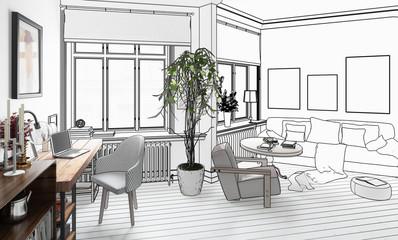 Wohnzimmer mit Einrichtung (Entwurf)
