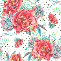 Watercolor seamless pattern with red roses
