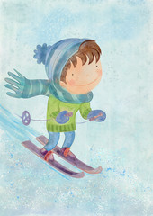Boy skiing. Watercolor on canvas. Bacground