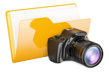 Computer folder icon with digital camera, 3D rendering