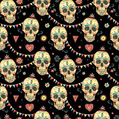 Watercolor seamless pattern with skull and sugar face