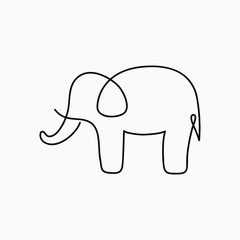 Elephant one line drawing. Continuous line animal. Hand-drawn illustration for logo, emblem and design card, poster. Vector.