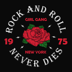 New York rock and roll girl gang - grunge typography for t-shirt, women clothes. Fashion print for apparel with rose and slogan. Vector illustration.