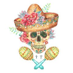 Watercolor Background with Skull in Sombrero