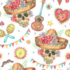 Watercolor seamless pattern with skull in sombrero
