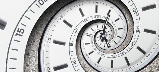 Obraz Modern diamond white clock watch clock hands twisted to surreal spiral. Abstract spiral fractal. Watch clock abstract texture pattern background Stylish abstract fractal spiral clock time spiral - fototapety do salonu