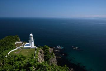 Beautiful view on the horizon at the lighthouse of Cape Chikyu, Hokkaido, Japan