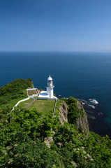 Beautiful view on the horizon at the lighthouse of Cape Chikyu, Hokkaido, Japan