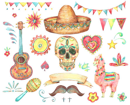 Watercolor set of mexican hand painted design elements
