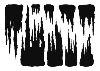 stalactites cave in isolation. cartoon vector black silhouettes. illustration on white background