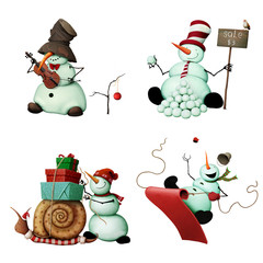 Set of four merry snowmen with different element for holiday greeting card Christmas or New Year.
