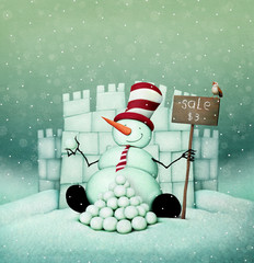 Holiday greeting card with  Snowman sale and  snow Fort   for Christmas or New Year