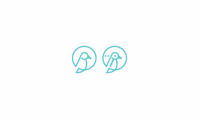 bird, line, monoline, box, bubble, funny, cute, simple, emblem symbol icon vector logo