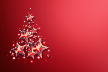 Christmas tree with star lights. Red background