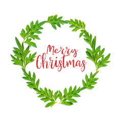 Merry Christmas words and fresh green leaves in circle on white background