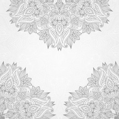 Floral hand drawing background with lace ornament